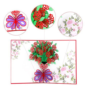 3D Pop Up Greeting Cards for All Occasions, 6 x 8 inches, Envelope Included (4 Pack)