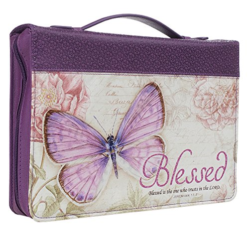 Bible / Book Cover, Blessed, Jeremiah 17:7, Botanic Butterfly Design, Two Sizes, Purple