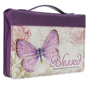 Bible Cover, Blessed, Jeremiah 17:7, Botanic Butterfly Design, Two Sizes, Purple