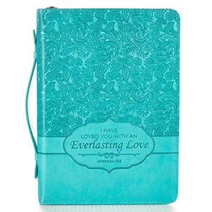Bible Cover, Everlasting Love, Jeremiah 31:3, Turquoise