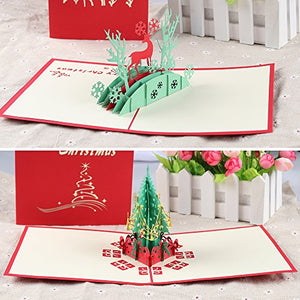 3D Pop Up Christmas Cards (8 Pack)