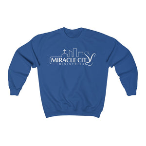 Miracle City Logo, Front Print Heavy Blend Crewneck Sweatshirt new