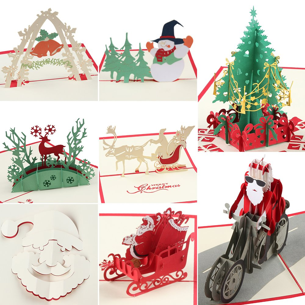 3d Pop Up Christmas Cards 8 Pack