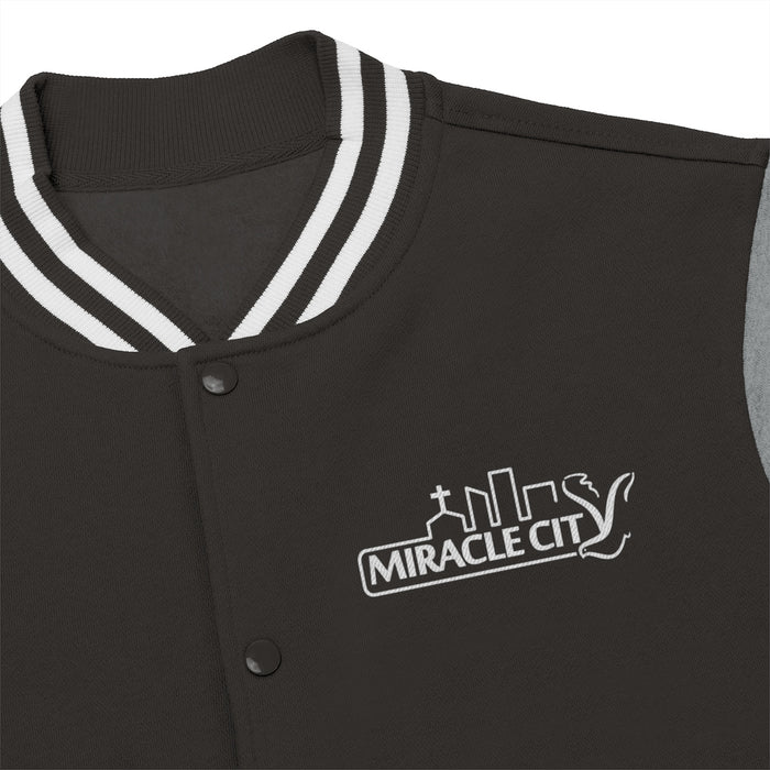 Miracle City Logo, Embroidered Men's Varsity Jacket