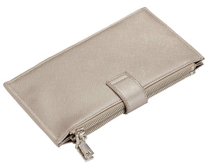 Women's Bifold Walllet, RFID Blocking, 16 Card Slots, One I.D. Slot, Two Zipper Pockets, 39 Colors