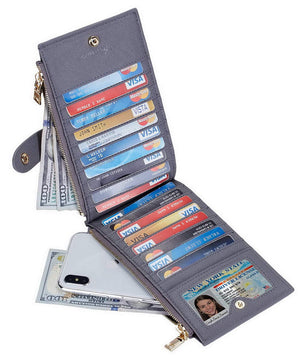 Women's Bifold Walllet, RFID Blocking, 16 Card Slots, One I.D. Slot, Two Zipper Pockets, 29 Colors