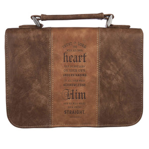 Bible Cover, Brown Faux Leather, 4 Bible Verse Styles
