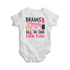 Brains and Beauty Little Cutie, Baby Short Sleeve Bodysuit