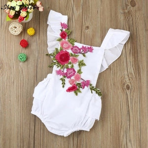 Baby Girl Floral Bodysuit, White or Black
