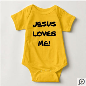 Jesus Loves Me, Baby Jersey Bodysuit - 6 Colors