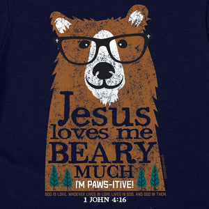 Jesus Loves Me Beary Much T-Shirt, Toddlers and Kids Sizes