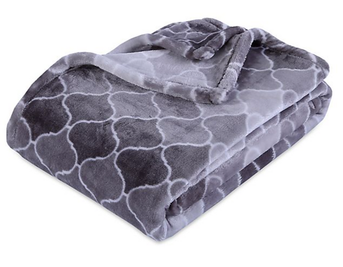 Berkshire Blanket Ultra VelvetLoft Printed Throw Blanket, Ombre Grey