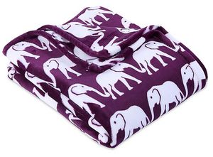 Berkshire Blanket Ultra VelvetLoft Printed Throw Blanket, Eggplant/Elephant