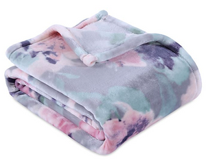 Berkshire Blanket Ultra VelvetLoft Printed Throw Blanket, Purple, Pink, Mint Grey Floral