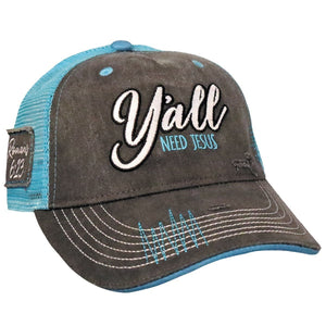 Y'all Need Jesus Cap, Color Grey/Teal