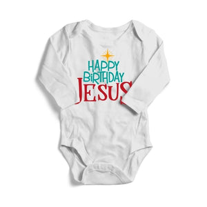 Happy Birthday Jesus, Christmas, Baby Long Sleeve Bodysuit