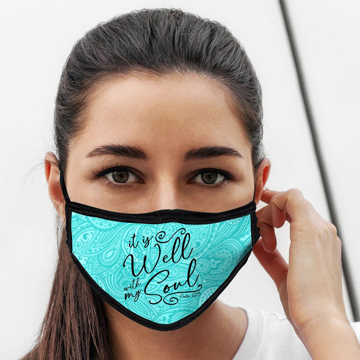 It is Well, Face Mask, One Size Fits Most Adults, Breathable, Teal