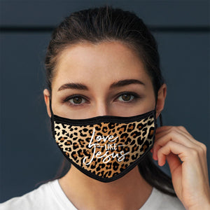 Love Like Jesus, Face Mask, One Size Fits Most Adults, Breathable, Leopard