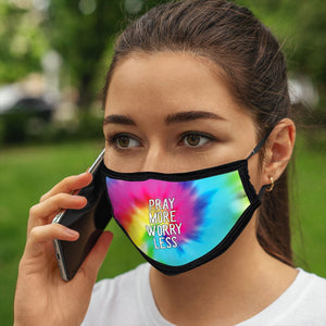 Pray More, Face Mask, One Size Fits Most Adults, Breathable, Tie Dye Pink/Blue