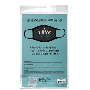Love Never Fails, Face Mask, One Size Fits Most Adults, Breathable, Denim