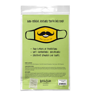 Smile, God's Got This, Mustache Face Mask, Fits Most Kids Ages 3-10, Breathable, Yellow