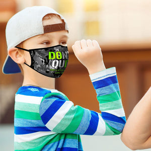 Don't Quit, Face Mask, Fits Most Kids Ages 3-10, Breathable, Black & Grey Camo
