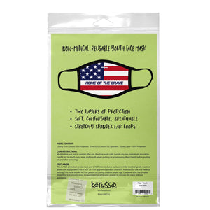Home of the Brave, Flag Face Mask, Fits Most Kids Ages 3-10, Breathable, Red/White/Blue