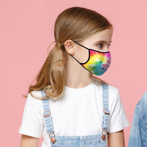 Pray More, Face Mask, Fits Most Kids Ages 3-10, Breathable, Tie Dye Pink/Blue