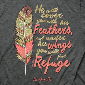 Cherished Feathers, Front/Back Print, Ladies T-Shirt