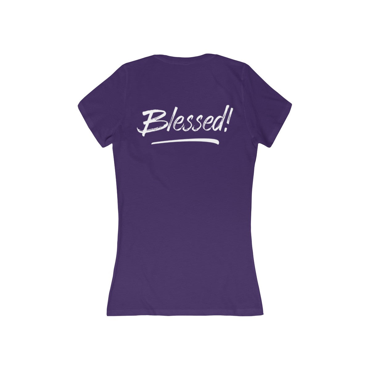Blessed, Back Print Women's Slim Fit Deep V-Neck Tee - 8 Colors