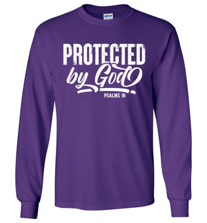 Protected by God, Front Print Long Sleeve Tee, Adult & Youth Sizes, 8 Colors