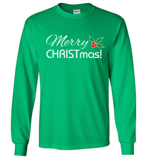 Merry CHRISTmas, Front Print Long Sleeve Tee, 12 Colors