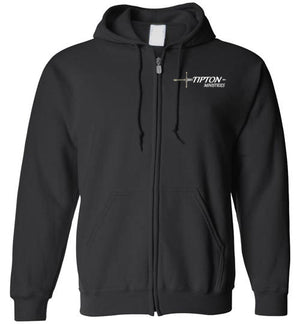 Tipton Ministry Logo on Front and on Back, Zip-Up Hoodie, 12 Colors