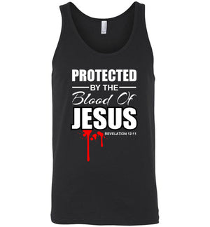 Protected by the Blood of Jesus, Front Print Tank Top, Black