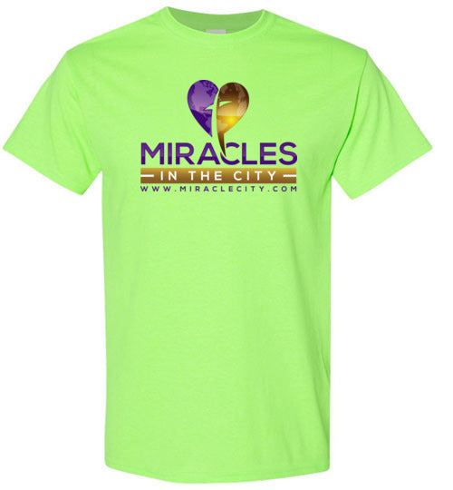 Miracles in the City Logo, Front Print Tee, 12 Colors