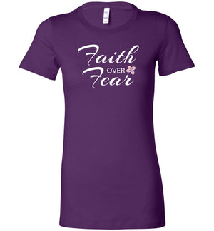 Faith Over Fear, Front Print, Women's Fitted T-Shirt (Runs Small), 17 Colors