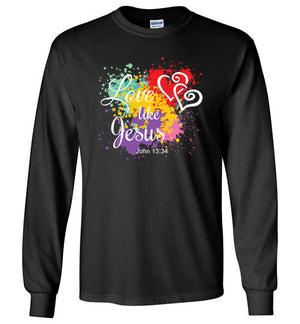 Love Like Jesus, Front Print Long Sleeve Tee, 10 Colors