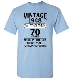 Vintage Birthday Front Print T-Shirt, We'll Add Your Birth Year and Age, 12 Colors