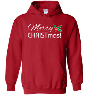 Merry CHRISTmas, Front Print Heavy Blend Hoodie, 11 Colors