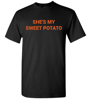 His & Hers, She's My Sweet Potato + I Yam, Short Sleeve T-Shirts, Black