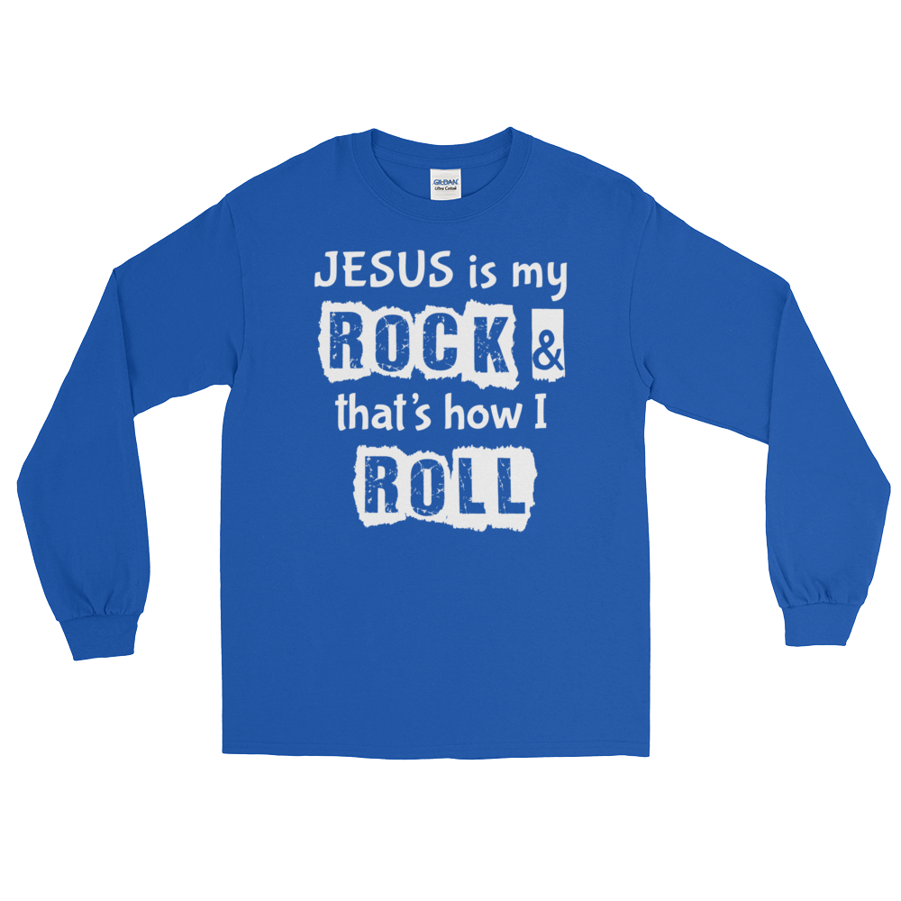 Long Sleeve T-Shirt - Jesus is my Rock (white letters) - 10 Colors