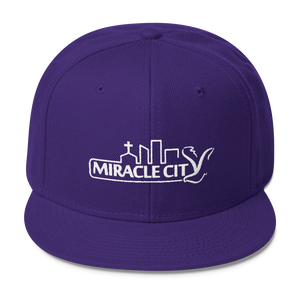 Miracle City Logo, Embroidered Wool Blend Snapback Cap - 23 Colors