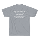 Augusta Sportswear Performance T-Shirt, Isaiah 40:31 on Back, White Logo