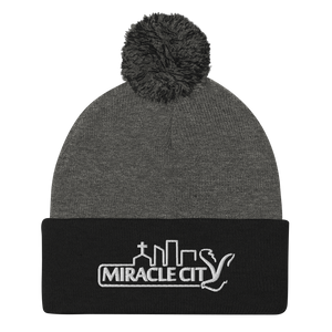 Miracle City Logo, Embroidered Pom-Pom Beanie