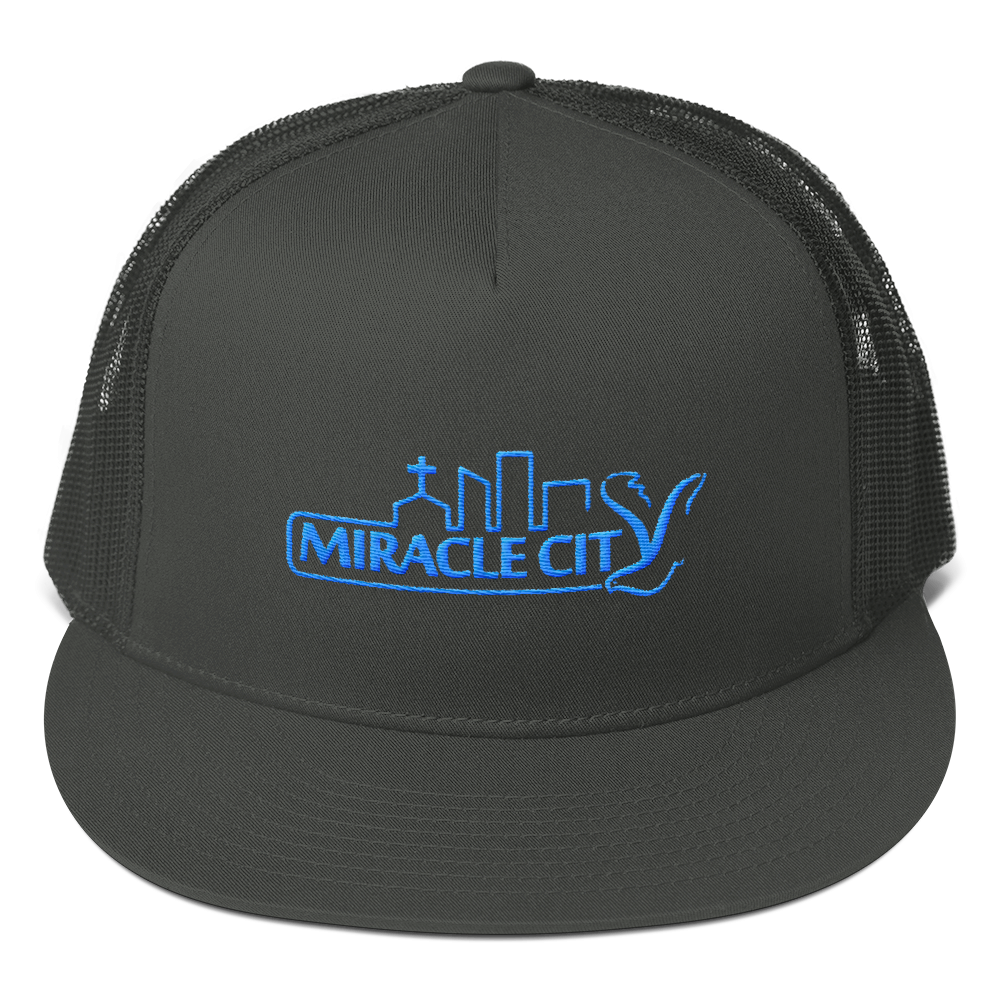 Mesh Back, Snapback Cap, Blue Embroidered Miracle City Logo