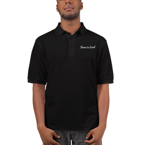 Jesus is Lord, Embroidered Premium Polo, Black with White Lettering