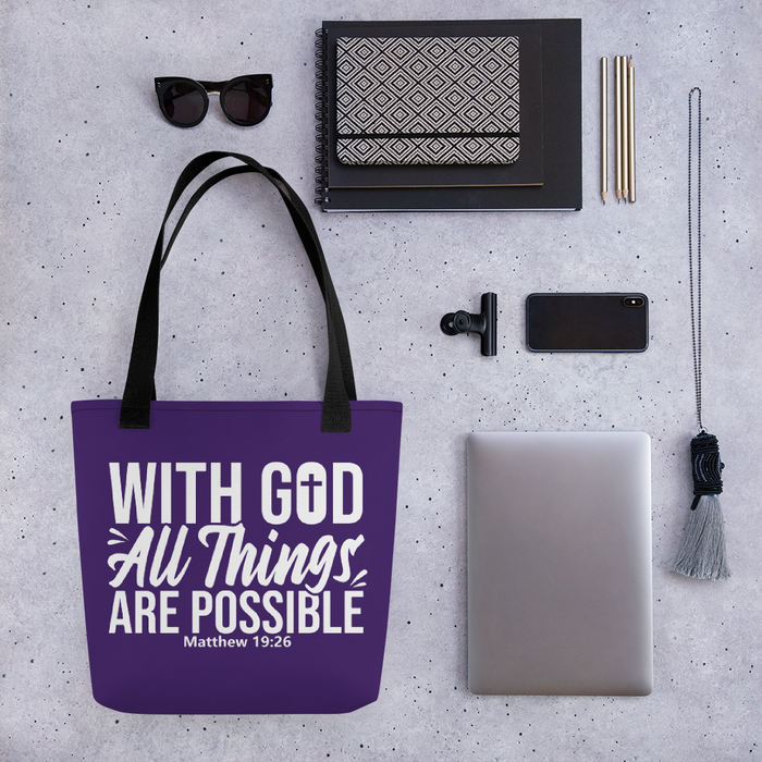With God All Things Are Possible, Tote Bag, 6 Colors