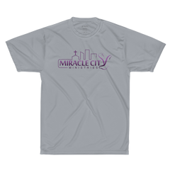 Augusta Sportswear Performance T-Shirt, Isaiah 40:31 on Back, Purple Logo
