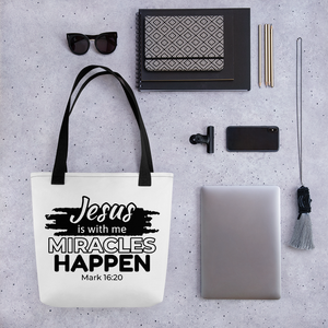 Miracles Happen Tote Bag, White Tote, 3 Handle Color Variations