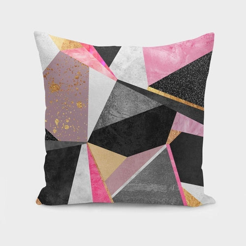 Geometric Pink Pillow or Cover Only, 4 Sizes